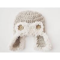 Fluffy aviator baby hat, Aviator crochet newborn hat, Baby beige aviator hat