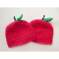 Apple baby hats, Red twin newborn hats, Twin baby hats, Crochet twin