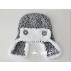 Gray aviator wool hat, Aviator style hat with fluffy edges
