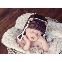 Wool baby hat, Brown aviator hat, Bomber pilot baby hat, Crochet pilot baby hat