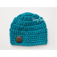 Teal crochet baby boy beanie, Cotton boy hat, Newborn hats cotton
