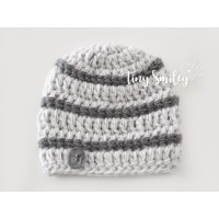 Wool baby boy beanie, Crochet boy hat, Winter baby boy hat gray