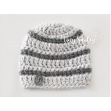Wool baby boy beanie, Crochet boy hat, Winter baby boy hat gray