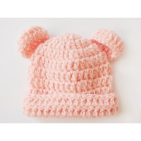 Orange wool baby crochet hat, Bear ears beanie winter