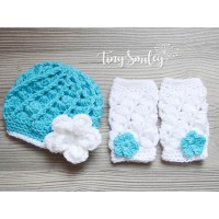 Newborn girls crochet set, Set baby girl hat and leg warmers turquoise