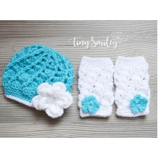 Newborn girls crochet set, Set baby girl hat and leg warmers turquoise
