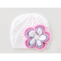 Flower baby girl beanie, White baby girl hat, Crochet girl hat, Tinysmiley