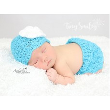 Turquoise blue baby girl set, Crochet baby girl skirt and hat set