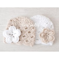 Newborn twin girls crochet beanies, Twin baby girl beanies hats beige