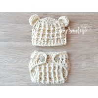 Newborn bear baby set hospital outfit take home crochet set