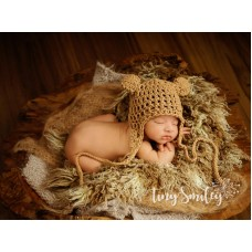 Crochet earflap baby hat, Bear hat ear flap, Baby hat with ears, Butterscotch crochet bear hat
