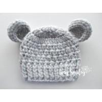 Wool gray baby crochet hat, Bear ears beanie winter