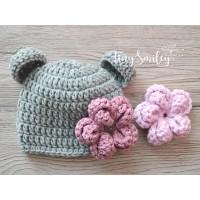 Bear girl beanie, Bear hat newborn, Crochet bear ears hat with flower