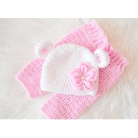 Twin newborn bear baby sets hospital outfit take home crochet set