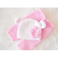 Crochet bear baby set, Set bear ears hat and pants, Newborn crochet set, Tinysmiley