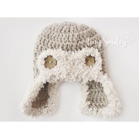 Fluffy baby hat, Aviator crochet newborn hat, Baby beige hat, Ear flap boy hat, Crochet aviator hat