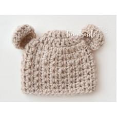 Beige bear beanie newborn, Crochet bear newborn hat, Tinysmiley