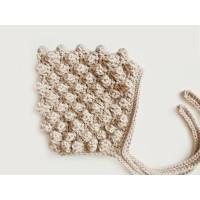 Beige newborn pixie bonnet, Crochet bubble baby girl hat