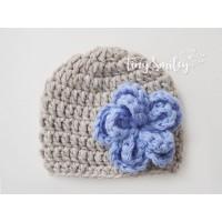Newborn beige crochet girl hat, Baby flower hat, Newborn girl hat, Flower hat