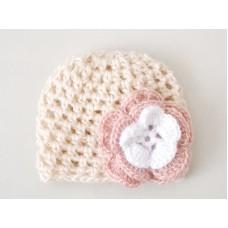 Newborn baby girl hat, Crochet baby outfit