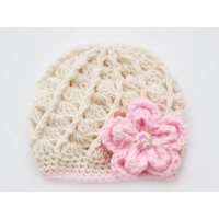 Newborn girl beanie beige, Beige girl hat with flower
