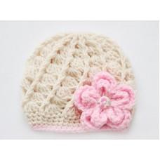 Newborn girl beanie beige, Beige girl hat with flower
