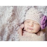 Beige crochet flower girl beanie, Girl hats with crochet flower, Tinysmiley
