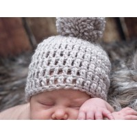 Crochet beige pompom beanie, Pom pom boy hat, Newborn baby boy outfit
