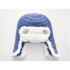 Blue crochet aviator hat, Blue boy aviator hat, Newborn pilot hat crochet
