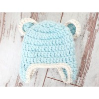 Chunky baby bear hat, Crochet bear hats, Blue baby bear hat, Tinysmiley