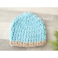 Crochet blue baby boy beanie,  Newborn boy outfit, Tinysmiley