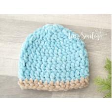 Crochet blue baby boy beanie,  Newborn boy outfit, Tinysmiley