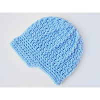 Crochet baby boy caps, Newsboy blue baby boy hat, Newborn beanie visor