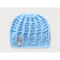 Hospital blue textured hat, Crochet boy hat, Crochet newborn beanie