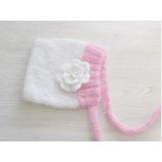 White knit baby bonnet, Cute newborn girl bonnet, Baby girl bonnet