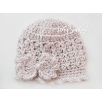 Bow  beige crochet girl hat, Bow newborn girl beanie, Crochet girl beanie with bow