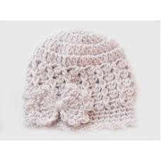 Bow  beige crochet girl hat, Bow newborn girl beanie, Girl beanie bow