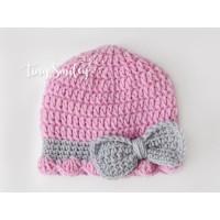 Bow mauve baby girl crochet beanie newborn girl outfit take home girl beanie
