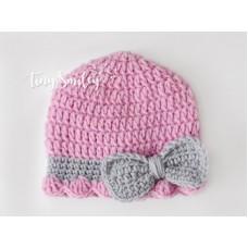 Bow newborn girl hat, Mauve baby girl crochet beanie, Tinysmiley