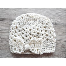 Crochet bow baby girl hat, Newborn bow beanie, Lace bow girl hat