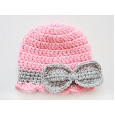 Bow pink baby girl hat, Bow beanies girl, Crochet bow girl hat pink gray