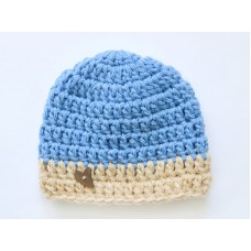 Blue crochet baby boy hats, Crochet boy hat with button, Cornflower blue baby hat