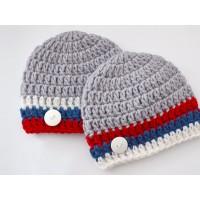 Twin baby boy hat, Hats, Hospital Hats, Newborn crochet twin beanies