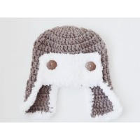 Brown aviator wool hat, Aviator style hat with fluffy edges
