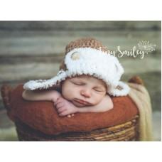 Brown aviator crochet baby boy hat