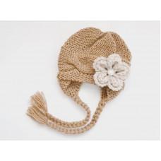 Honey brown girl winter hat, Knit baby girl hat, Earflap newborn girl hat