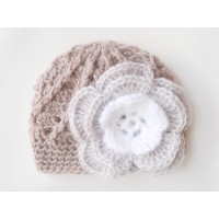 Newborn beige crochet girl hat, Baby flower hat, Newborn girl hat, Flower hat