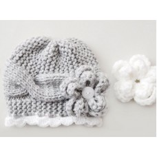 Gray cable girl hat for winter, Baby knit hats newborn girl, Tinysmiley