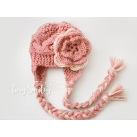 Salmon knit earflap girl hat, Cable newborn girl hat ear flaps