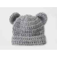 Alpaca bear hat newborn, Gray bear hat with ears, Bear boy girl hat